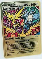 Pokemon Moltres Zapdos Articuno GX Steel Metal Custom Card Proxy Orica