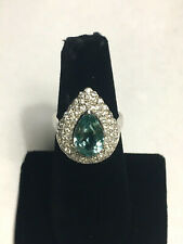 Pear Aquamarine And CZ Cocktail Ring Sterling Silver 8.1 Gr. Size 8