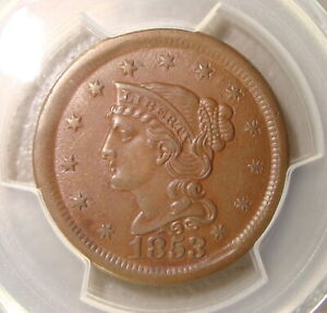 1853 Braided Hair Copper Large Cent PCGS MS62BN
