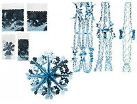 Ice Blue Xmas Hanging Ceiling,Wall Decoration Foil Garland,Bell,Ball,SnowFlake