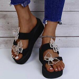 Women Rhinestone Butterfly Open Toe Slippers Platform Slingbacks Wedge Shoes