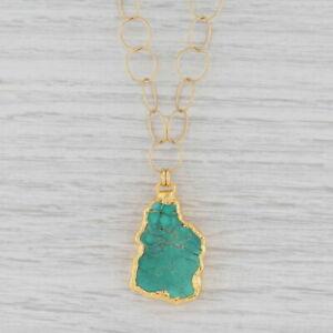 "New Nina Nguyen Turquoise Pendant Necklace Sterling 22k Gold Vermeil 20"""
