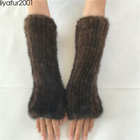 Women's Real Genuine Knitted Mink Fur Long Fingerless Gloves Mittens Black