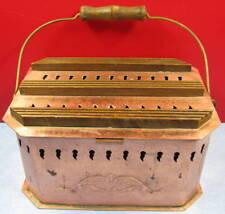 artisanat d'art, chaufferette Villedieu cuivre et bois, copper