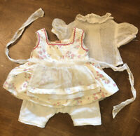 "Vtg Baby Doll 5 Pc Dress Outfit Print Flower Slip Swiss Dot Blouse Lace 12""w EUC"