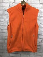 Lands End AirCore Bright Orange Fleece Zip Up Vest Men Size M 38-40 Regular