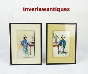 Pair Chinese Framed Pith Paintings 19th C Qing Dynasty