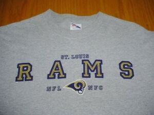 YOUTH BOYS LARGE NFL NFC ST. LOUIS RAMS GRAY T-SHIRT MAJESTIC