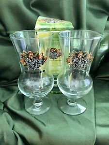 2 RAINFOREST CAFE  HURRICANE GLASS COLLECTORS DRINK CUPS ORLANDO NEW IN BOX