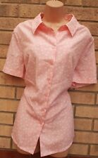 DAMART PINK WHITE SPOTTY ALL BUTTONED SPOTTED FORMAL T SHIRT BLOUSE TOP 20