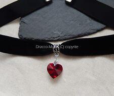 Black Velvet Choker/Necklace Red Crystal Heart Gothic/Halloween/Christmas UK