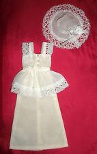 Vintage Barbie, Lily, Petra doll clothes: 'Posh' long cream lacey dress & hat