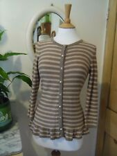 LAURA ASHLEY CARDIGAN 10 COTTON CASHMERE BEIGE PINK NUDE PEARL DIAMOND BUTTONS