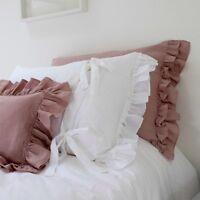 Linen Pillowcase, Ruffled Pillowcase, Linen Bedding, Ties at Back. Shabby Chic!