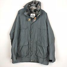 Vtg Gray WOOLRICH Parka Rain Jacket PLAID WOOL LINED Coat Men's Sz XL USA Made