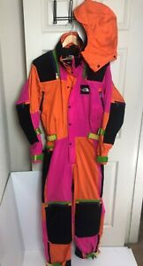 vtg 90s NORTH FACE Neon COLOR BLOCK One-Piece SNOW SUIT + HOOD Ski Snowboard MED