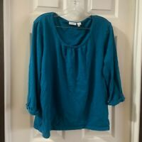 Weekends by Chico's Women's Blue Scoop Neck 3/4 Sleeve Top size XL