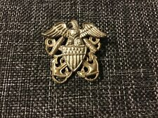 WW2 Navy Officer Hat Badge Eagle Anchor Pin Insignia