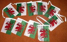 WELSH FLAG BUNTING,  Cymru, Wales (13 feet length)