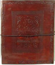 10 x 12 Celtic Tree of Life  Leather Journal Handmade Paper