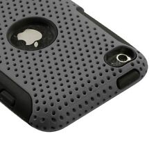 Grey MESH Hybrid Hard Silicone Rubber Gel Skin Case Cover Apple iPod Touch 4