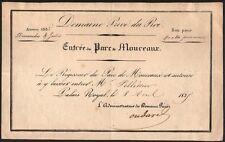 Laissez-passer. Entrée nominative pour le Parc de Mouceaux. 1835