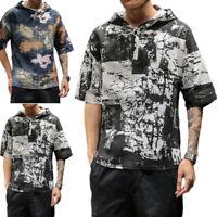 100%Cotton Bohemia Shirt Men's Short Sleeve Hoodies Blouse T Shirt Tops Holiday