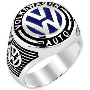Solid 925 Sterling Silver Volkswagen Auto Men's Ring
