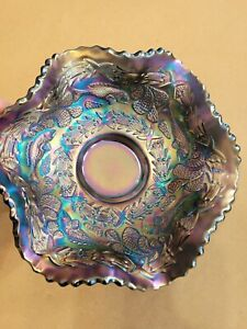 Fenton Carnival Glass Blue Little Fishes Berry Bowl