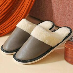 Men Women Faux Leather Splice Slippers House Warm  Indoor Shoes Non Slip Winter