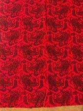 Paisley Corduroy Print Red W/ Black Print 2 Yards 12 Inches Cotton