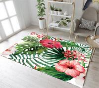 Watercolor Tropical Leaves Hibiscus Floor Rug Mat Bedroom Living Room Area Rugs