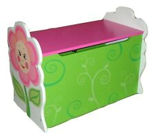 GIRLS DAISY FLOWER THEMED PINK KIDS CHILDRENS WOODEN TOY BOX BENCH STORAGE BOX
