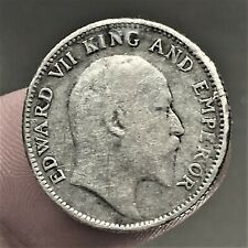 1910 India - British 1/4 Rupee Coin, SILVER, Edward VII, KM# 506