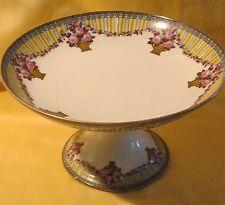 Compotier en porcelaine Legrand Limoges Art Déco décor floral panier de roses
