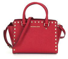 MICHAEL KORS Selma Stud Leather Top Zip Medium Satchel Bag Purse Cherry Red New