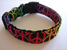 Charming Bright Multi-Color PEACE Signs Dog Collar
