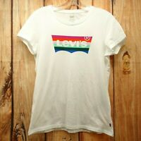 New Levi's Sz M Womens White Cap Sleeve Pride Cotton Crew Neck Tee T-Shirt