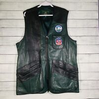 Mens ORVIS Green Leather Vest / Hunting -  Clay Shooting  Fishing /  Size XL
