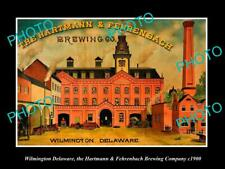 OLD 8x6 HISTORIC PHOTO OF WILMINGTON DELAWARE, THE H&F BREWERY POSTER c1900