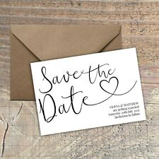 Personalised Save the Date Card CLASSIC BLACK & WHITE SIMPLE packs of 10