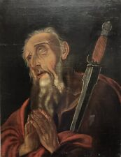 Antique Old Religious 17th Century Oil painting on canvas portrait old man