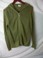 Chico's Women Jacket Sz 1/M Crochet Hooded Lightweight Green Zipper 100% Cotton