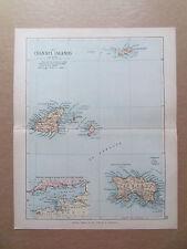 Isole del Canale mappa con Le Ferrovie-PHILIPS-ANTIQUARIATO data 1890 - 7inx 9 in (ca. 22.86 cm)