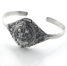 Sterling Silver Egyptian Scarab Poison Box Locket Cuff Bracelet