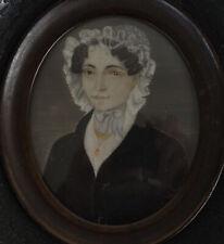 Miniature Portrait Dame au Bonnet de Dentelle du XIX Siècle