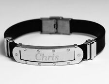 CHRIS - Mens Bracelet With Name - Silver Tone With Frame - Birthday Custom