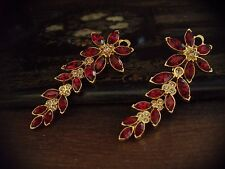 Vintage Marquise Navette Ruby Red Crystal Flower Long Drop Clip-On Earrings
