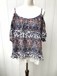 SELECT Womens Top Blouse Size 18 Pink White Blue Patterned New Plus Size A18