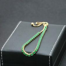New Designer Fashion Yellow Gold Plated Green Cubic Zircon Tennis Women Bracelet